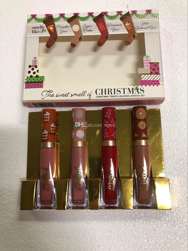 الأكثر مبيعا 4PCS رائحة الشفاه الحلوة عيد الميلاد يعامل السائل 4 ألوان الشفاه اللامع مجموعة ذاب ماتي ماكياج مستحضرات التجميل هدية