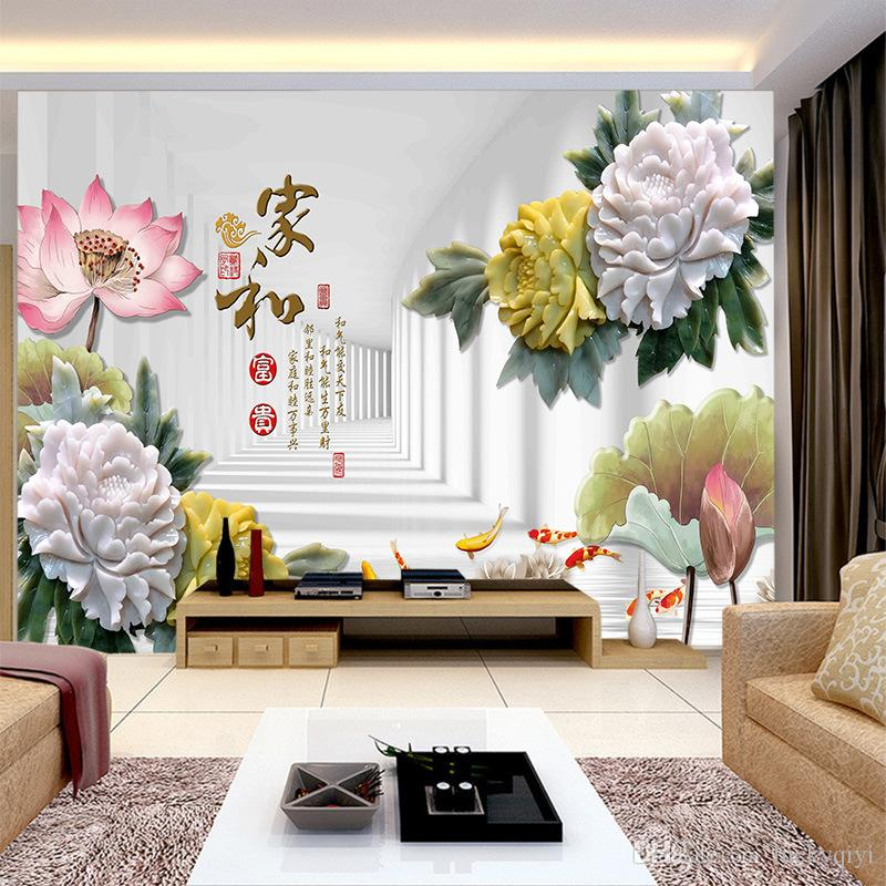 Classic 3D Custom large TV Chinese style flowers wallpaper TV sofa elder's bedroom background Wall peony silk wall covering