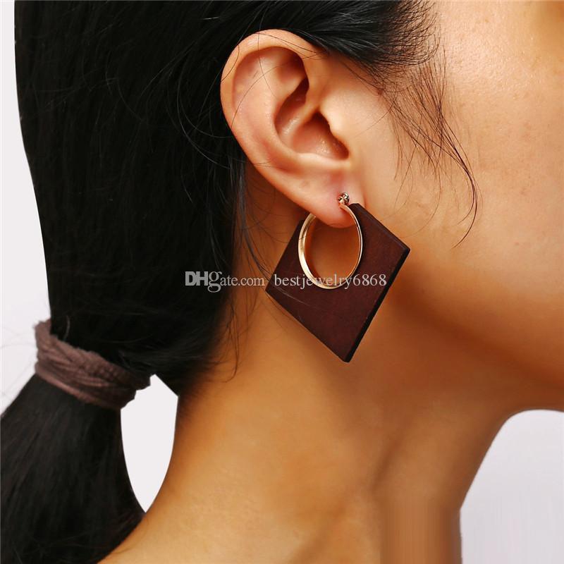 New Big Геометрическая Квадратные деревянные серьги Vintage Серьги Золото мотаться серьги падения для женщин Мода Enthic Boho ювелирные изделия