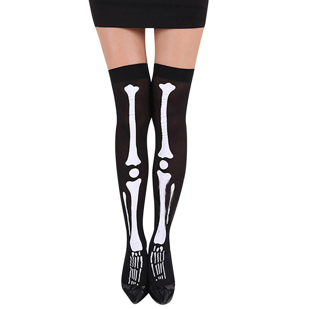 Women Halloween Skull Cosplay Party Printed Pantyhose Stockings winter socks #43