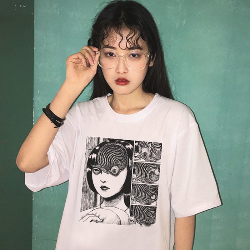 Dark Summer japonais Harajuku Mode Hip Hop Casual manches courtes en vrac Horreur Femme Taille Big Fun New Ulzzang T-shirt