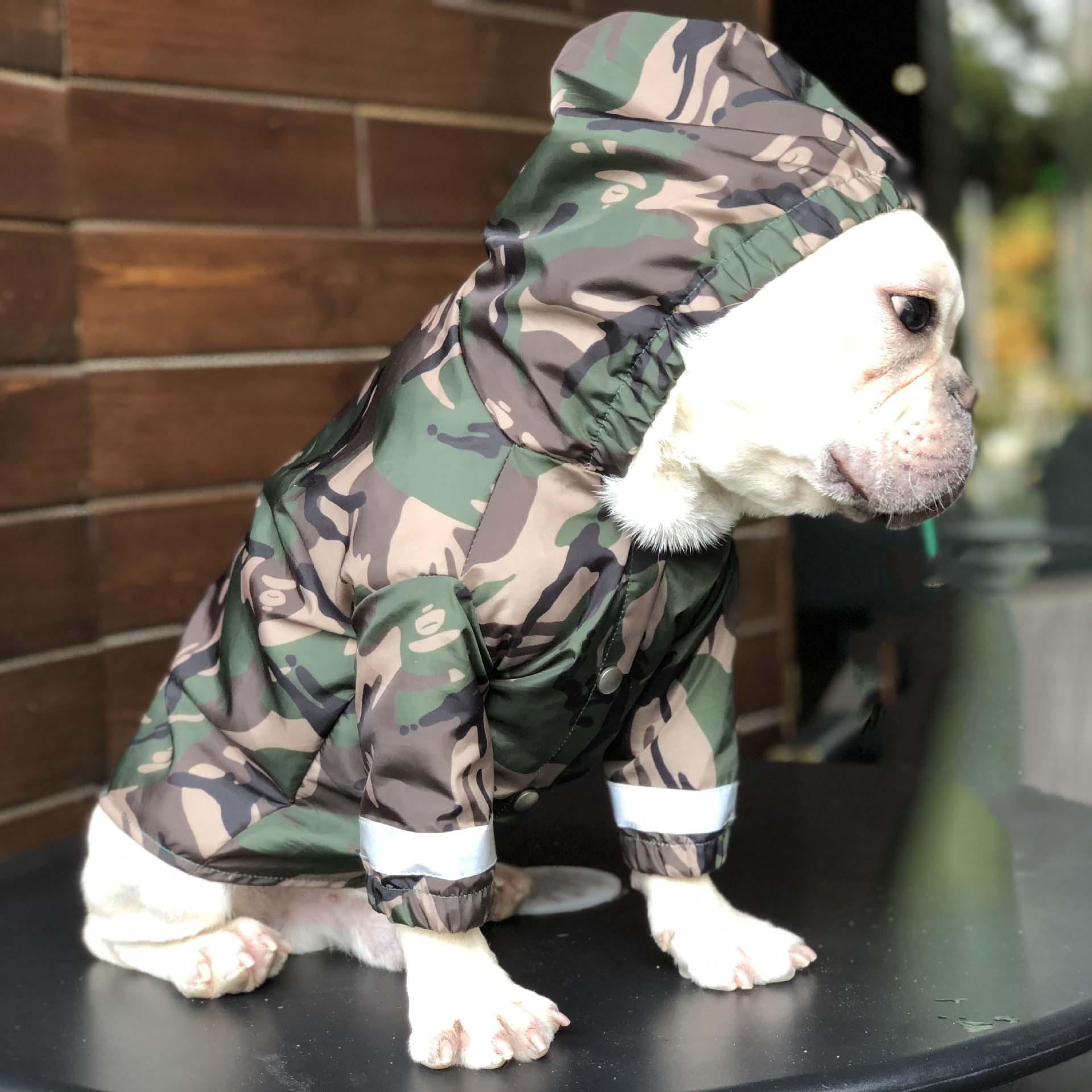 애완 동물 반사 비옷 큰 개 위장 방수 의류 불독 테디 슈나우저 레인 코트 아웃 도어 의류 애완 동물 용품