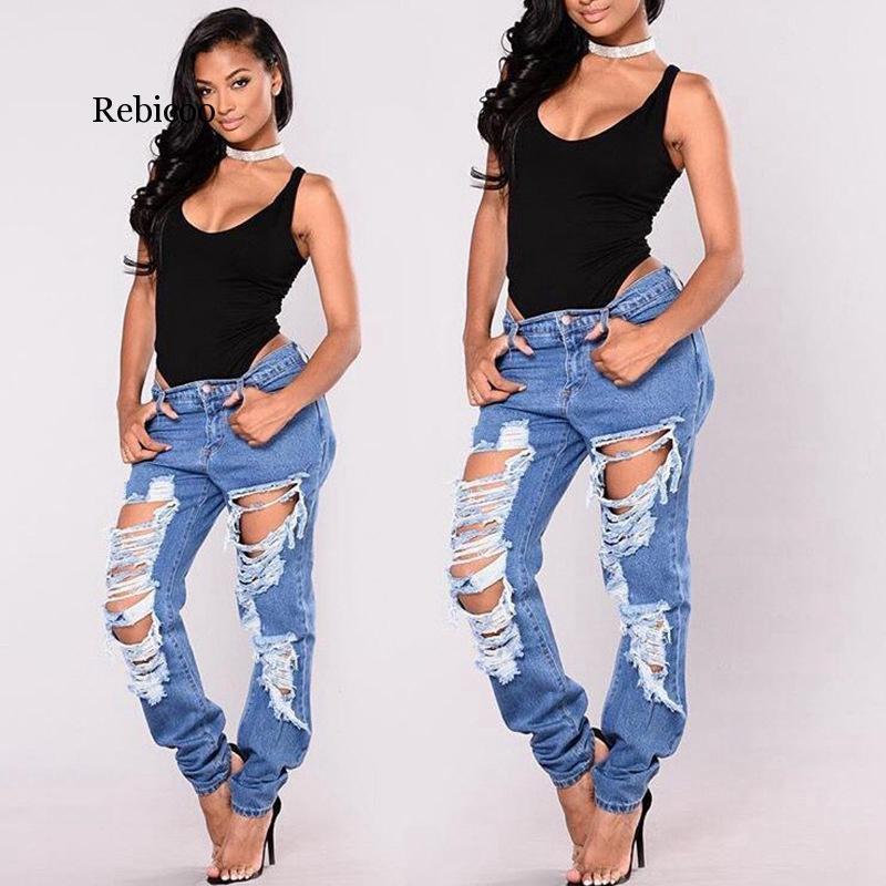 Agujero rasgado novio Jeans mujeres destruidas Pantalones Demin apenado fresco Jeans sueltos muchacha de la vendimia mediados de cintura de los pantalones ocasionales femeninos