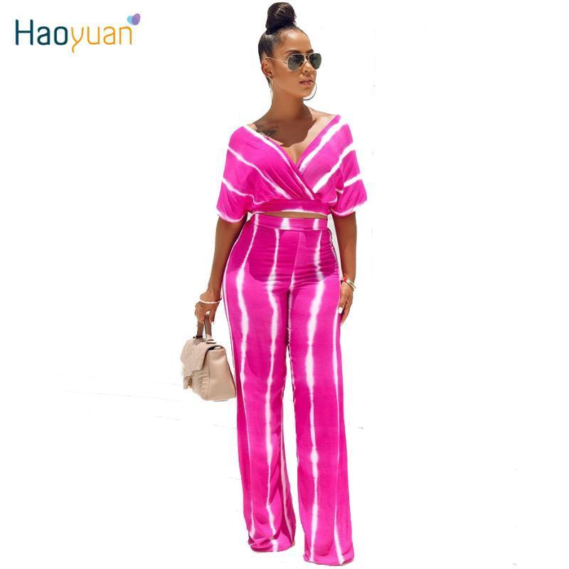 Haoyuan Tie Dye 2 Piece Set Mulheres Verão Roupa Alças Top Curto + Ampla perna da calça Sexy Clube condizer Two Piece Outfits
