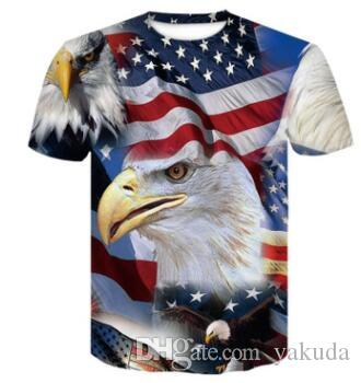 boutique en ligne de formation New 3D USA lettre couleur star drapeau américain T-shirt imprimé à manches courtes mode hommes occasionnels vêtements amples vêtements
