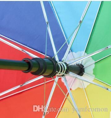 Colorful Automatic Crutch Umbrella Practical Rainbow Walking Stick Umbrellas With Long Handle Durable For Outdoors High Quality