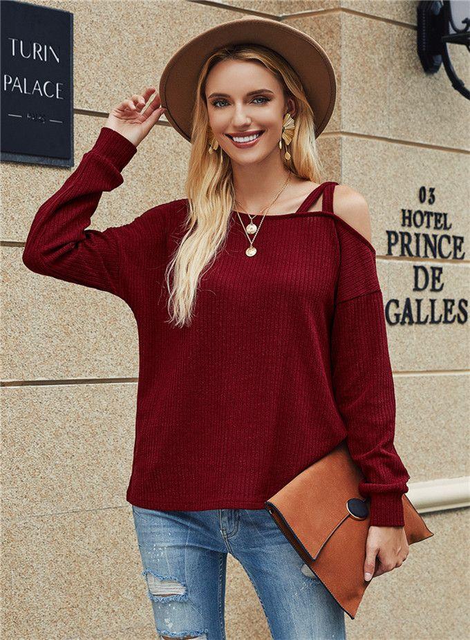 Bir Omuz Sonbahar Bayan tişörtleri Bahar Katı Renk Uzun Kollu Bayan Tasarımcı Tees Düz Günlük Moda Üstler