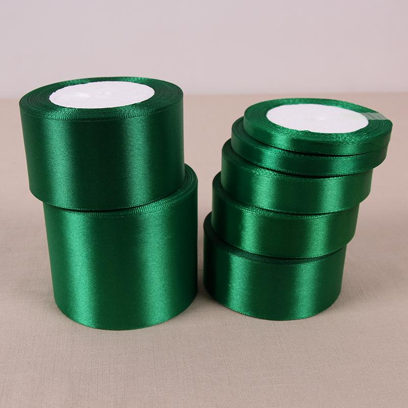 50mm 25 yardas de material de seda de la cinta de raso en Green Wedding Party la decoración del hogar regalo ropa de costura de la tela del arco DIY Accesorios para el cabello
