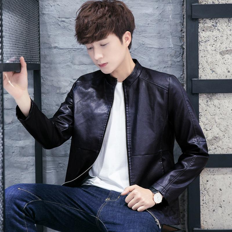 Pop2019 And Man Pu Leather Clothing Korean Slim Loose Coat Stand Lead Jacket Locomotive Cool Time Youth Bo Kuanchao