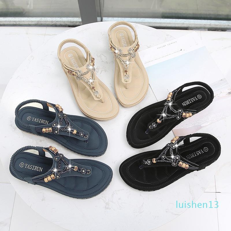 Zapatos Yu Kube Mujer del verano de Bohemia plana Sandalias Mujer Chaussures Femme 2020 flip flop tacón bajo las correas de las sandalias L13