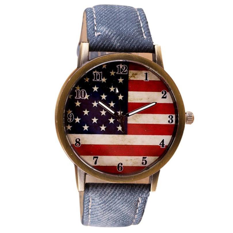 Kadın Saatler 2018 Saatler Ünlü Marka Relogio Masculino Amerikan Bayrağı Desen Deri Kayış Alloywatch Kadınlar Kuvars