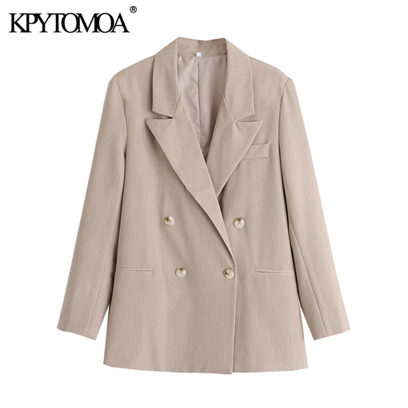 KPYOMOA Mulheres 2020 Moda escritório desgaste Abotoamento Blazer Casaco Vintage manga comprida Pockets Tops Feminino Casacos Chic