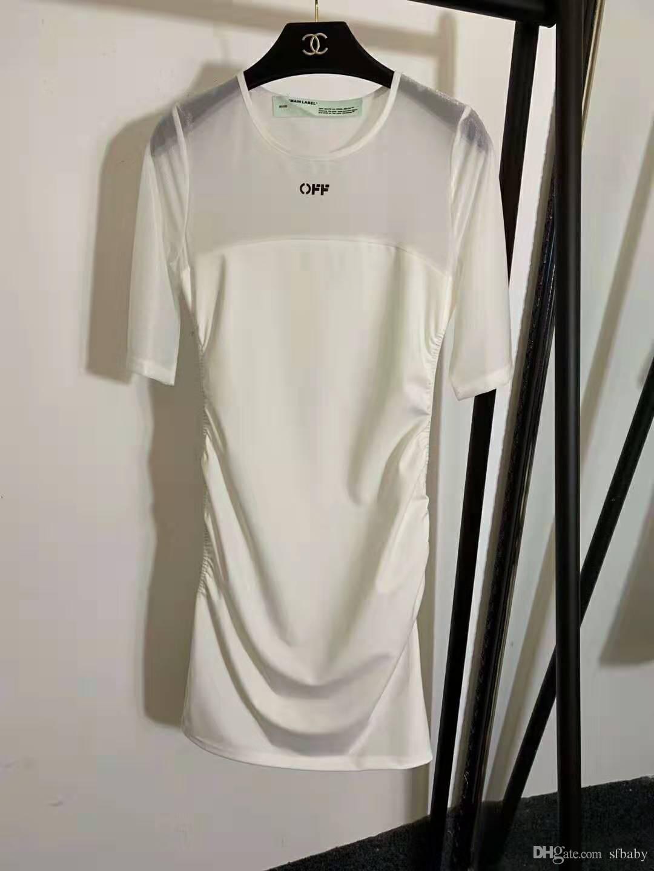FA 2020 neue Sommer-Schnee Korndurchsicht-Naht Zier Temperament kurzärmeliges Kleid