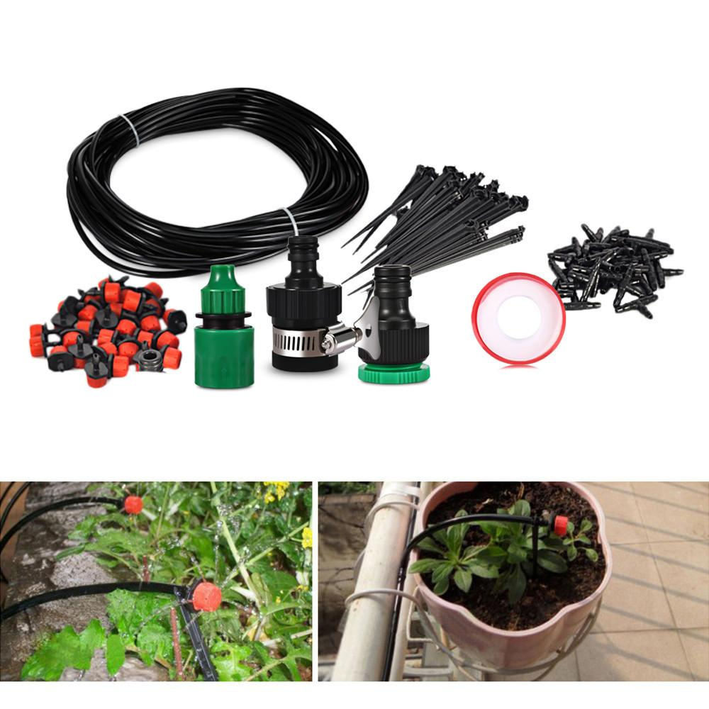 25M Garden Water Irrigation Drip Spray Micro Drippers Watering Plant Hose Kit UK