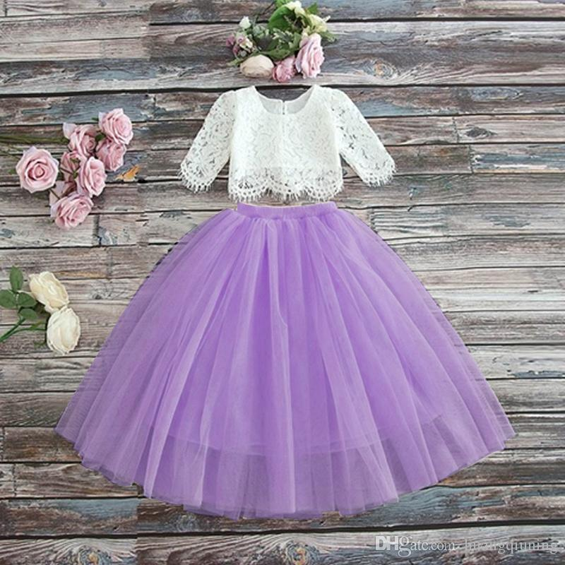 Kids Luxury Designer Clothes Girls Outfits Sets Tutu Baby Kids Clothes Rustic Flower Wedding Girls Dresses