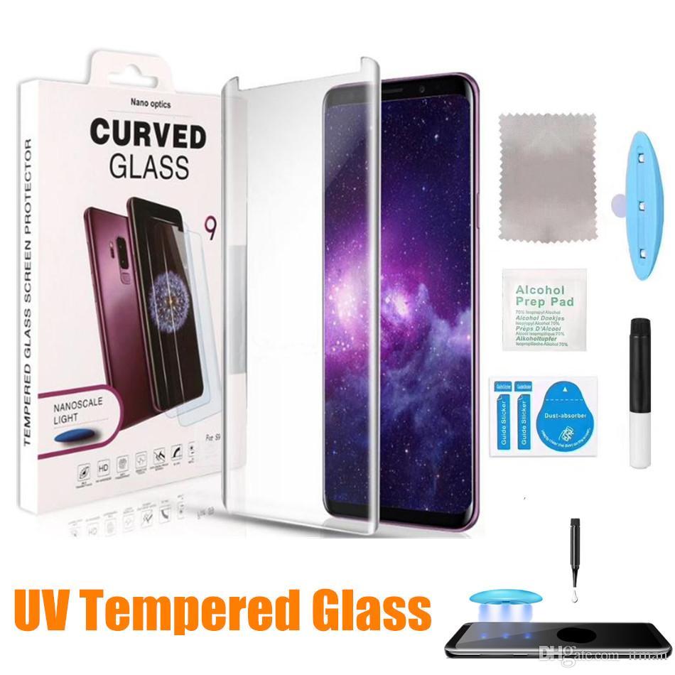 Ультрафиолетовое стекло для примечания 20 Ультра Примечание 10 плюс S10 УФ полный клей Закаленный стеклянный Стеклянный Стекло Для S20 Ультра S10 Plus