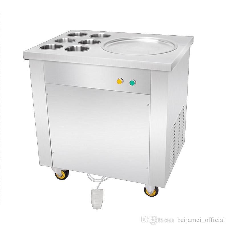 BEIJAMEI Máquina de laminación de yogur frito comercial de sartén plana redonda Máquina de rollo de helado eléctrico de acero inoxidable