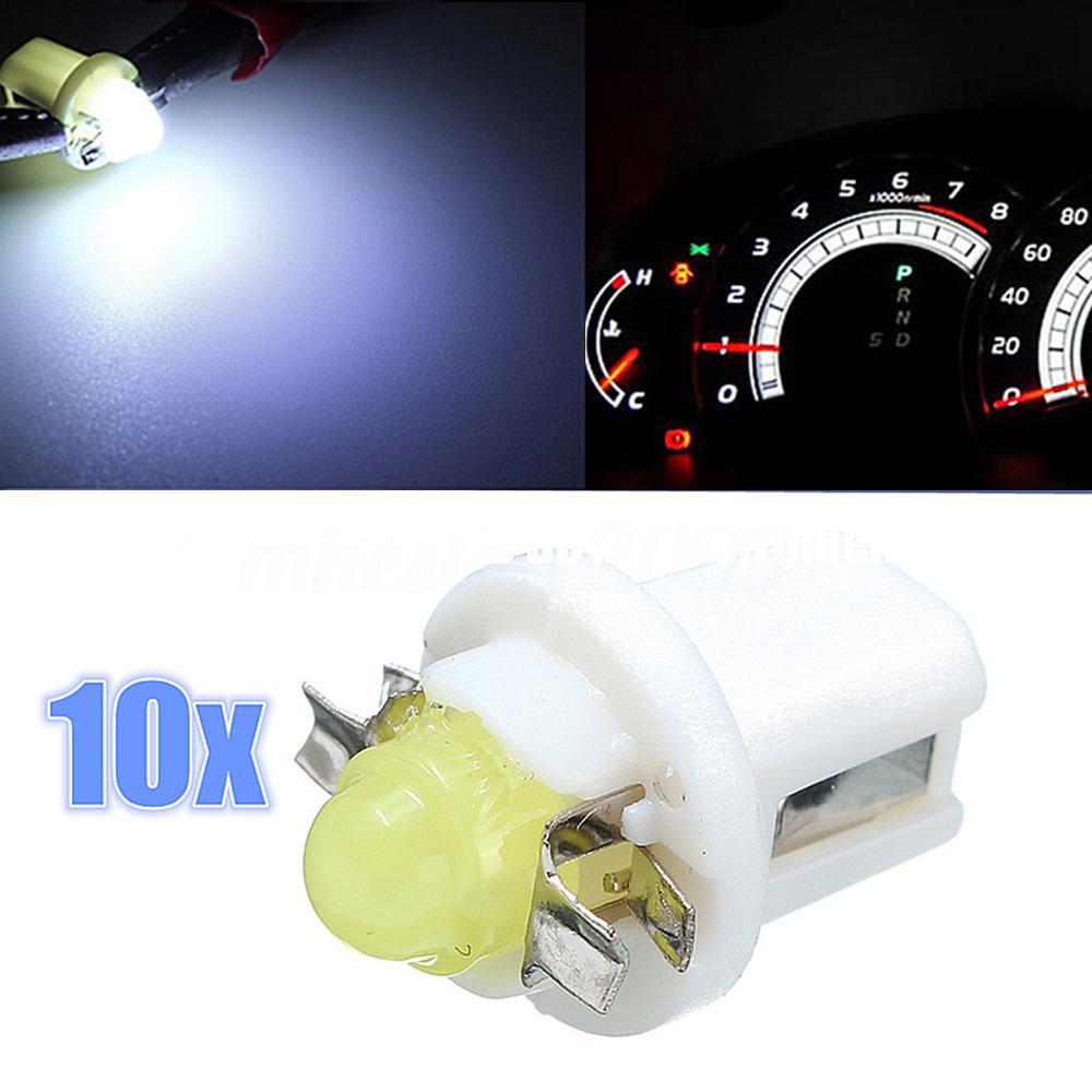 10PCS T5 LED COB 전구 대시 보드 게이지 웨지 계기판 램프 빛 백색 12V