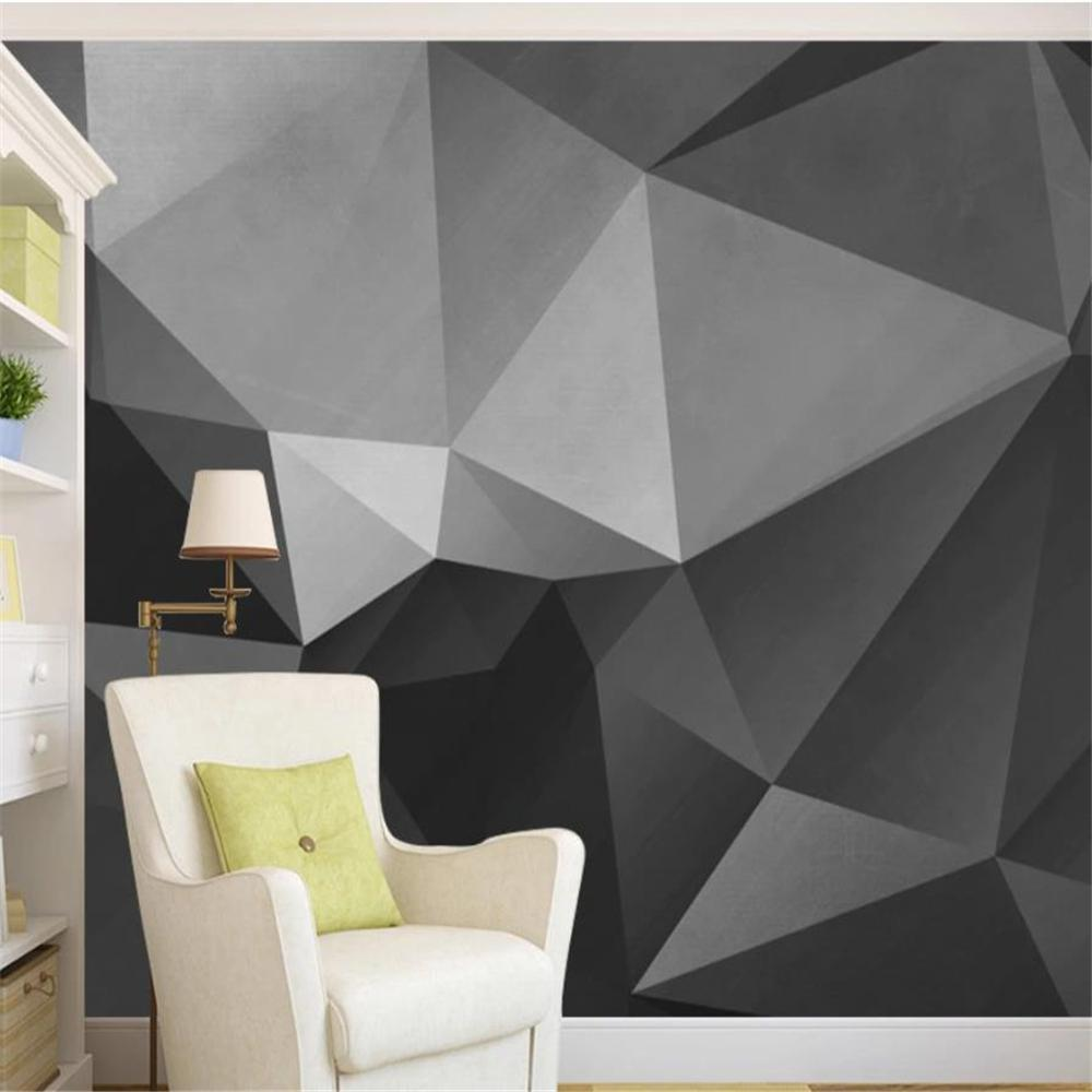 Blackout curtain Abstract geometric background wall painting TV background wall European-style wallpaper
