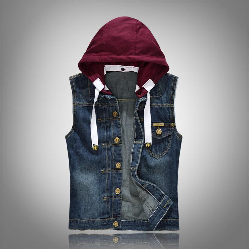 Denim Yelek Şapka Ayrılabilir Kapşonlu Yaz Kolsuz İnce Erkek Tasarımcı Yelek ile Düğme Düz Streetwear Erkek Dış Giyim