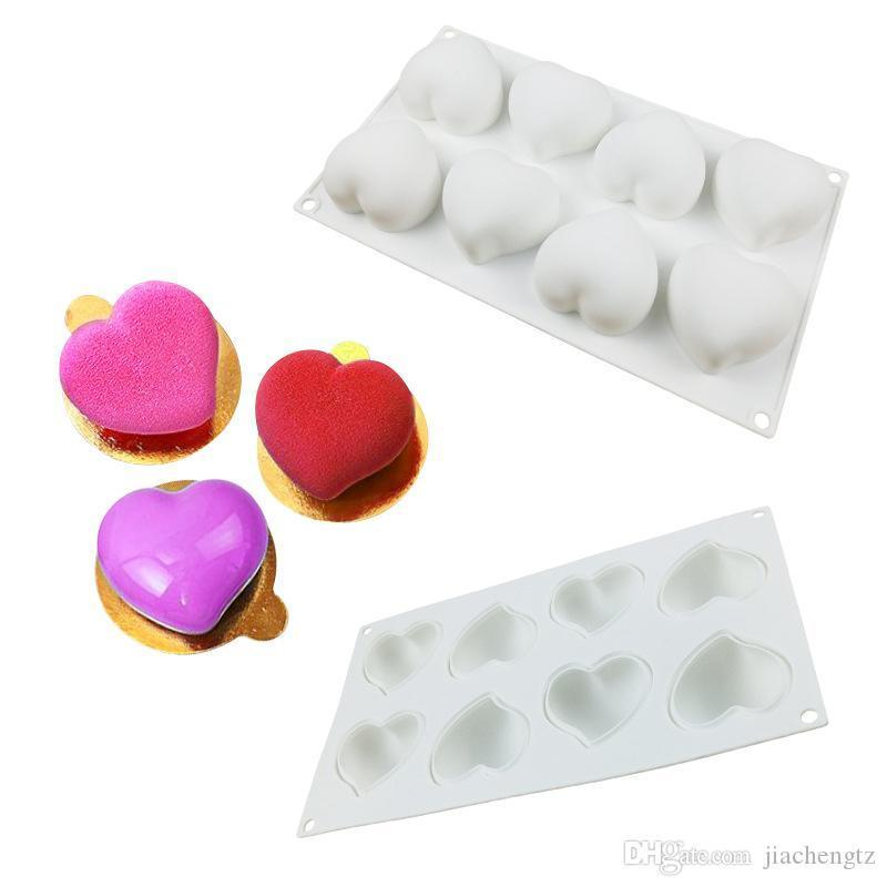 كعكة القلب السيليكون تزين أدوات الخبز 8 فتحات شوكولاتة القلب 3d كعكة الشوكولاته Mold الشوكولاته Molds الشوكولاته صنع الحلويات