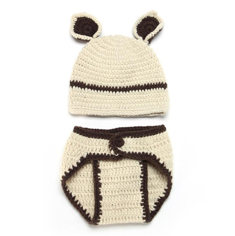 Wholesale- and winter new hat creative animal model baby knitting set bear knitting wool hat and trousers two-piece set hat