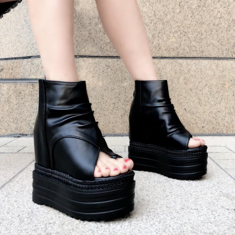 coins européens avec des sandales à talons hauts Muffin chaussures bouche poisson à fond épais nouvelle hausse interne des chaussures pour femmes refroidissent boots13cm