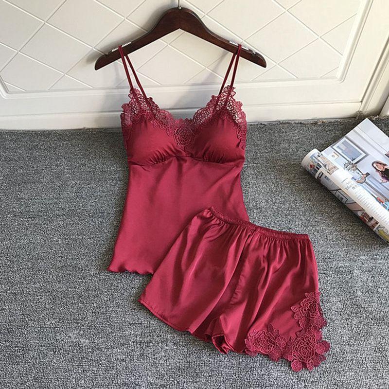 Nighties Mulheres pijamas cetim Pijamas Pijama de seda Wear Início Lace Início Robe Chest Pads Sono Salão pijama vermelho 2 PIECE