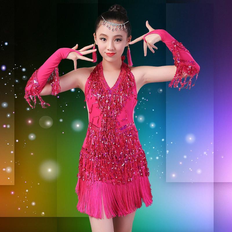 Petites filles Enfants moderne Ballroom Latin Dance Blue Dress frangée Salsa Danse Tango Robe Rouge scène Performance