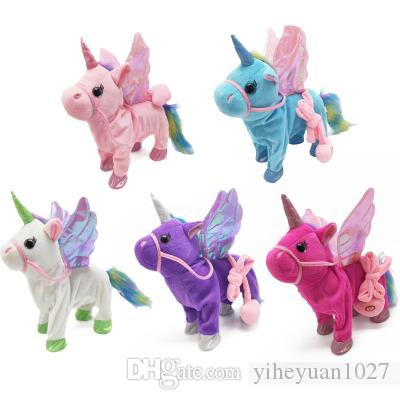 Hot selling Leash unicorn plush doll can call walk twist the butt Stuffed Animals electric plush toys children's Christmas gifts