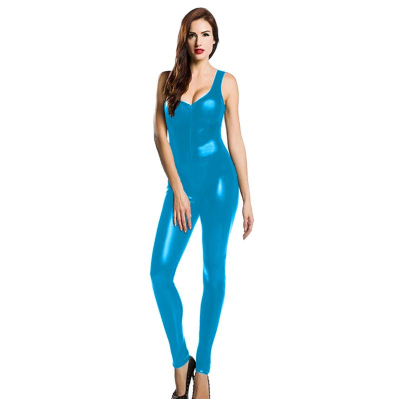 Faux Leather Sleeveless Women Catsuit Sexy Low Cut Stretch Jumpsuit Front Zipper To Crotch Bodysuit Nightclub Exotic Costume
