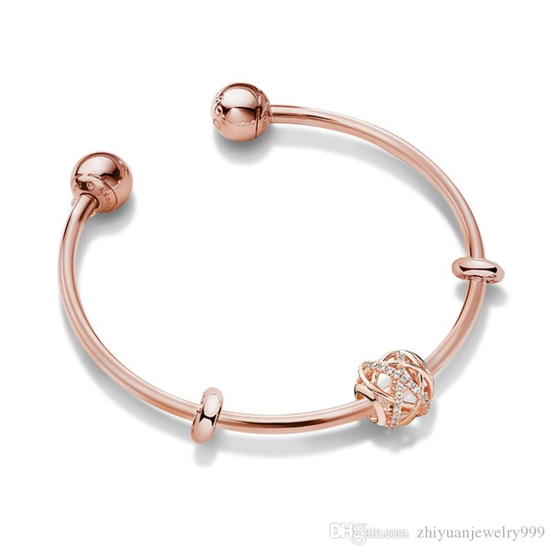 737038613 valentine gifts sale Pandora rose gold star charm open bangle bracelets 925  sterling silver jewellery full