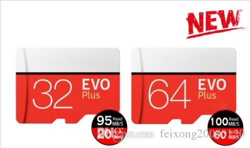 أسود أحمر EVO زائد C10 64GB 128GB 256GB بطاقة الذاكرة بطاقة الذاكرة TF، مجانا للأفراد حزمة نفطة، شحن مجاني