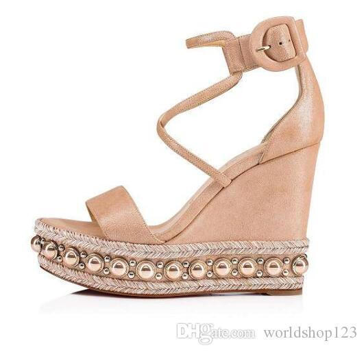 Summer Chocazeppa Red Bottom Sandals Wedge Studs Sexy Women High Heels Gold Glitter Leather Ankle Strap Ladies Gladiator Sandal EU35-42