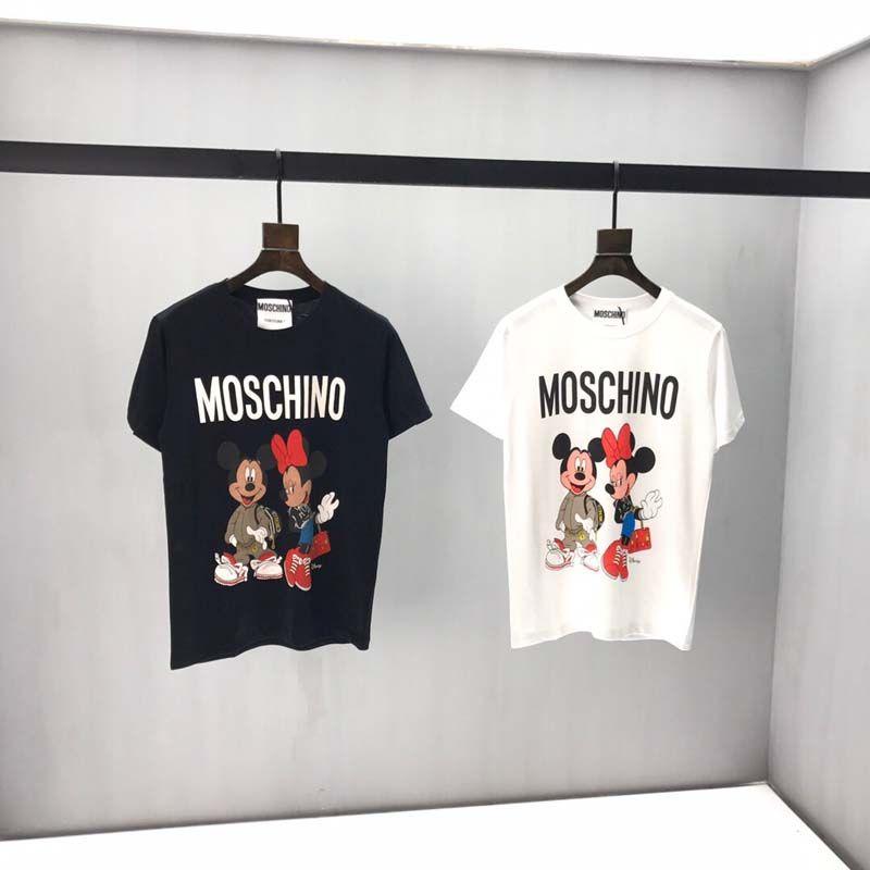 Camiseta 100% algodón letras impresas de las mujeres de diseño de manga corta camiseta de la marca insignia de la camisa de los hombres de las mujeres camiseta blanca negro tamaño de la UE
