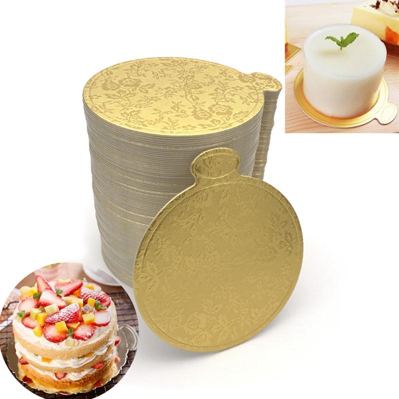 200PCS / مجموعة الذهب الطباعة جولة موس كعكة لوحات ورقة كب كيك حلويات يعرض صينية كعكة الزفاف الديكور المعجنات كيت