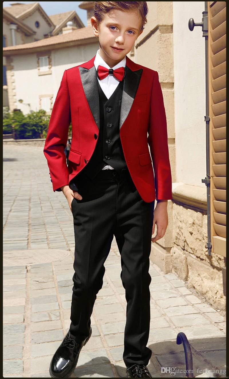 Boy 5 Pieces Red Suit Smart Teens Peak Lapel Two Button Boy Tuxedos Wear Kids Suits for Prom Party Custom Made(Boy Jacket+Pants+Vest+Shirt)