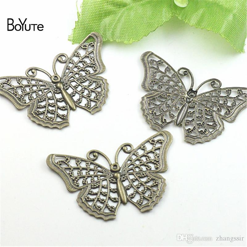 BoYuTe (100 Pieces/Lot) Metal Brass Stamping Filigree 25*40MM Diy Handmade Butterfly Charms for Jewelry Making