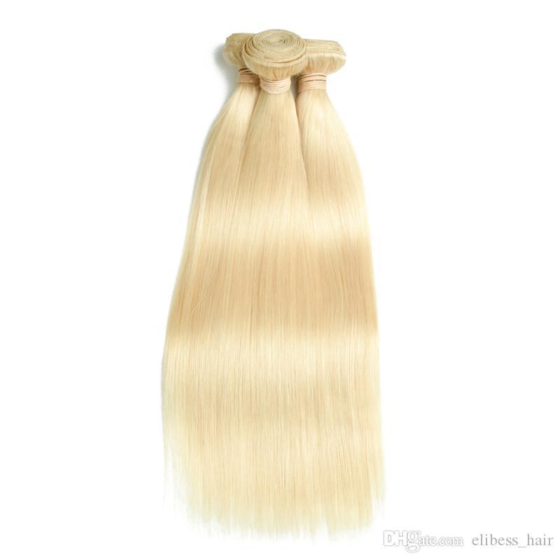 Top-Qualität 9A Bleach Blonde Farbe 613 # brasilianische peruanische Malaysian Indian Gerade Jungfrau-Menschenhaar Weaves Bundles Remy Hair 3 oder 4pcs