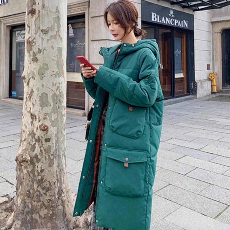 Вниз пальто женщин зимней куртки женщин длинный толстая большого размера хлопок пальто корейской версия свободная одежда из хлопка Повседневных утепленная T191030