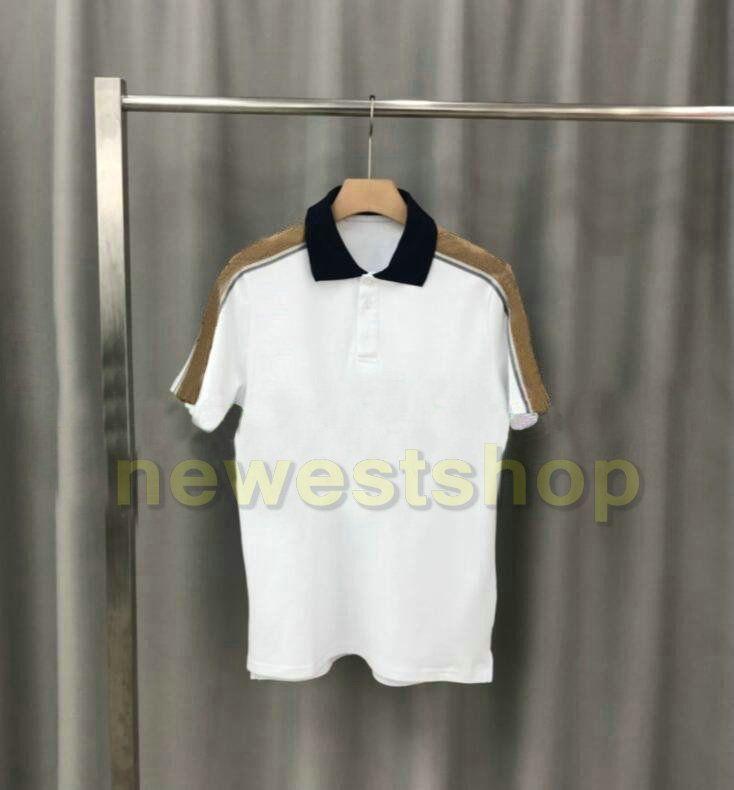 2020 Luxo quente Europa camisa dos homens da listra splicing t de alta qualidade parafuso Fiado de algodão POLO carta de impressão camisetas designer de topos Casual tee