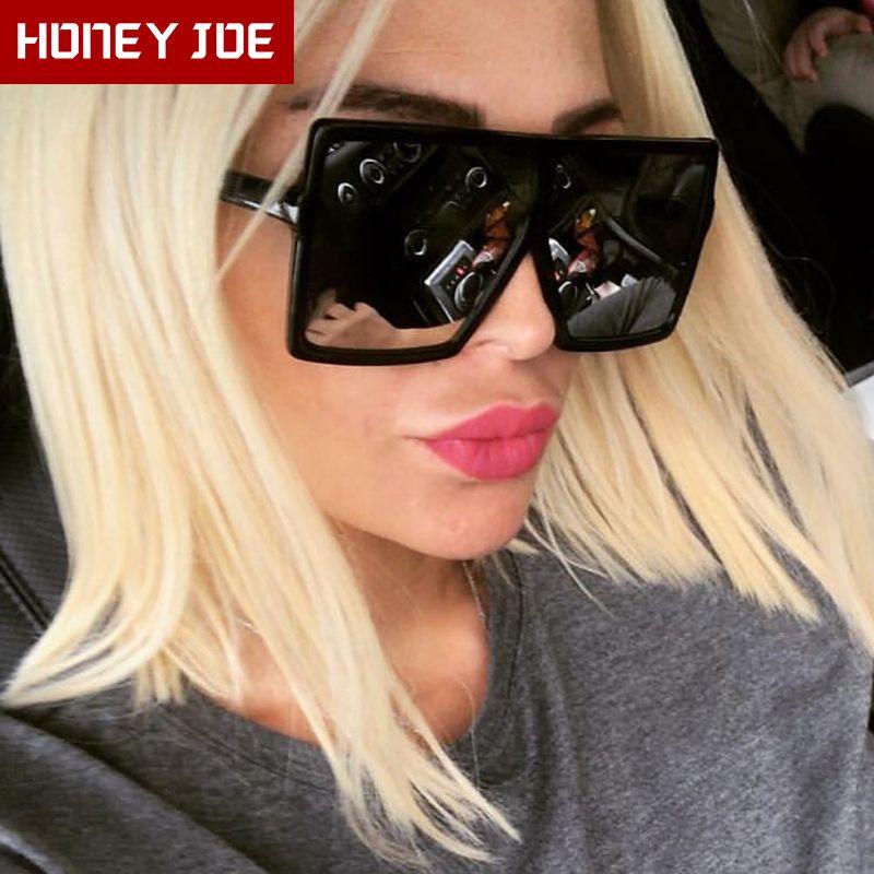 خمر البلاستيك المرأة الإطار الكبير نظارات المتضخم ساحة العلامة التجارية مصمم أنثى نظارات شمسية نظارات UV400 oculos ذكر لل
