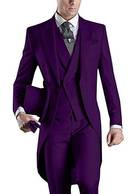 Purple Wedding Tuxedos Slim Fit Suits For Men Groomsmen Suit Three Pieces Cheap Prom Formal Suits (Jacket +Pants+Vest+Tie)NO:954