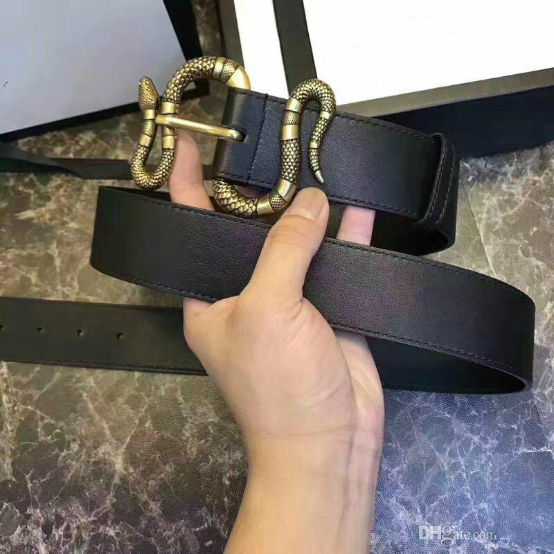 2020 Hot neuen Mens Verkauf schwarzen Gürtels der Frauen Echtes Leder Gürtel der reinen Farbe Gürtel Schlange Muster Schnallengurt für Geschenk