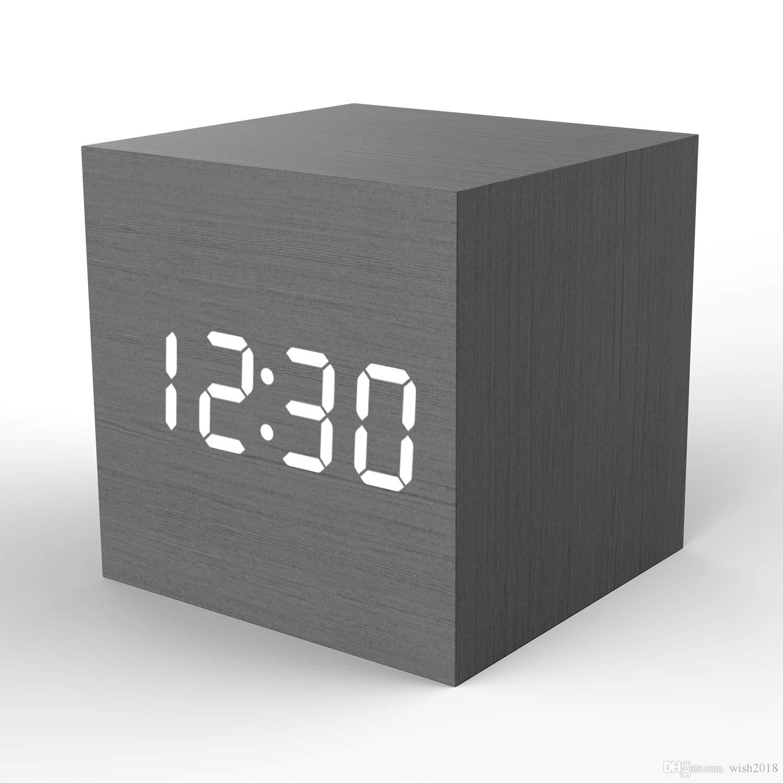Reloj despertador digital de madera Cube Little Clock, Topacom LED Reloj de mesa USB / Batería para durmientes pesados, Niños