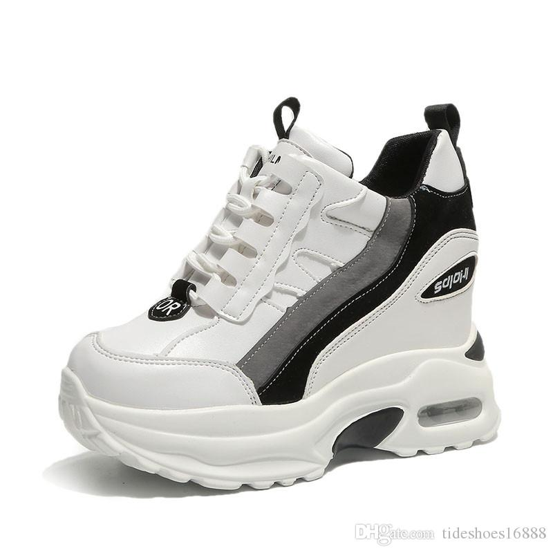 Frauen Weiß Schuhe Frau Keil Plateauschuhe Abnehmen Chunky Trainer Versteckte Höhe Erhöhen 10 CM Frauen Atmungsaktive Turnschuhe