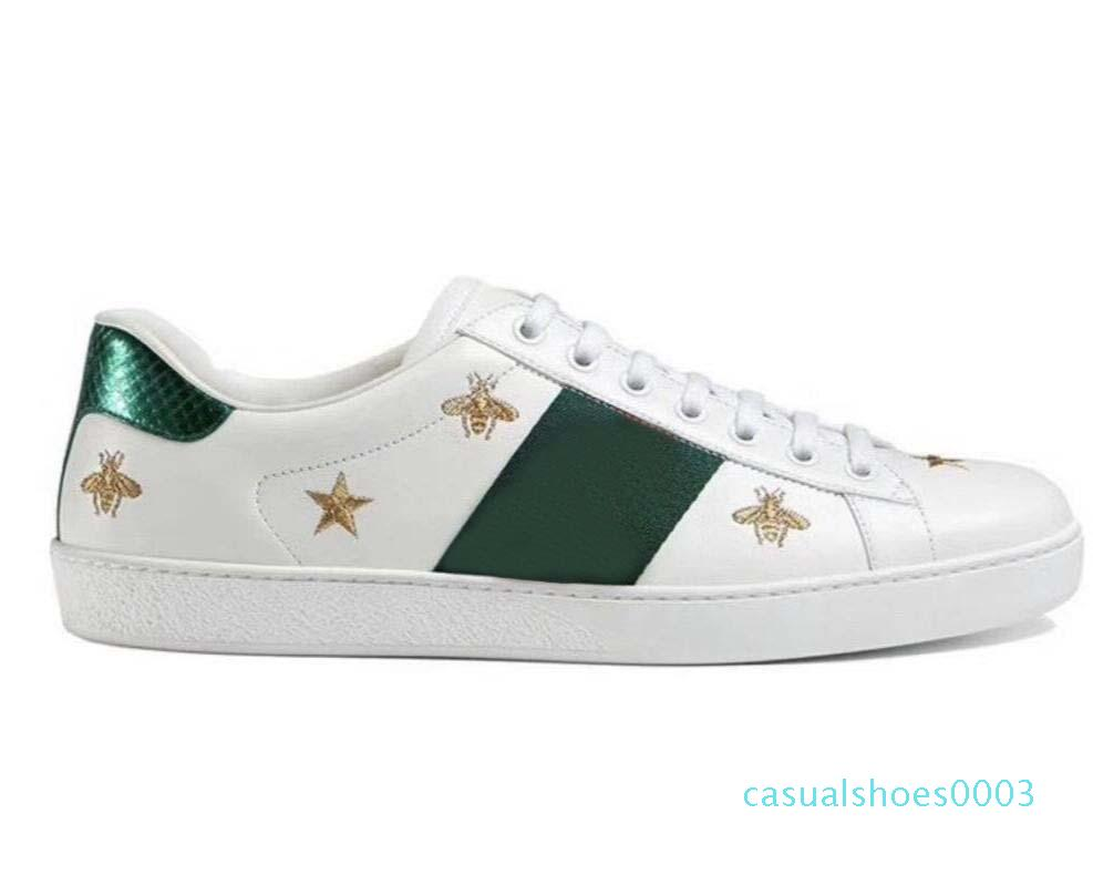 Новое прибытие Мода Мужчины Женщины Повседневная обувь Роскошная кроссовки обувь Лучшие качества из натуральной кожи Bee Вышитые c03