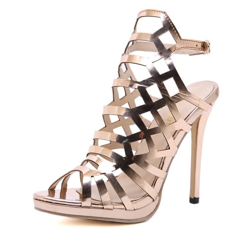 물고기 입 하이힐 이탈리아 로마 여성 샌들 공동화 아웃 스틸 레토 신발 방수 플랫폼 골든 패션 67xy C1