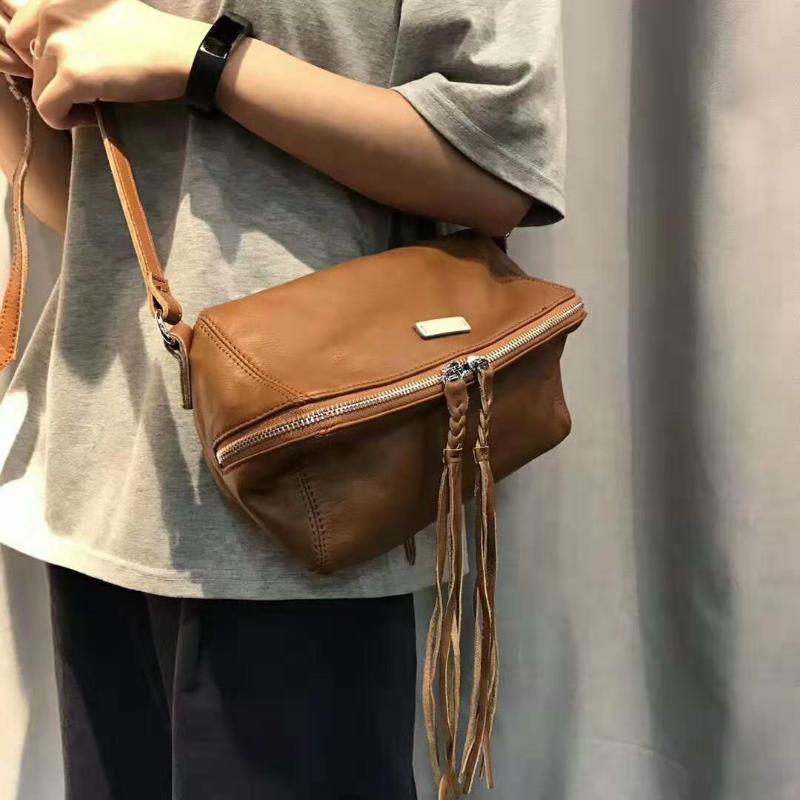 100% echtes Leder-Handtaschen Luxuxschulter Designer Damen Umhängetasche für 2019 Female Schwarz Braun Frauen Softtrage