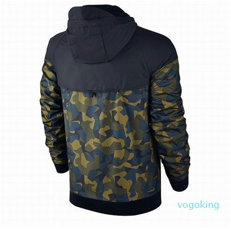 Verano sudaderas con capucha de los hombres chaquetas de la capa más el tamaño del camuflaje del diseñador a prueba de viento de manga larga sudaderas con capucha de la cremallera Ropa para Hombres
